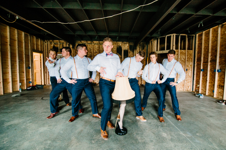 groomsmen portraits being silly