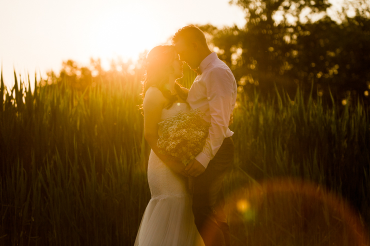 Bride and Groom portraits at sunset in the country