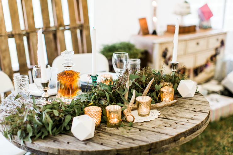 Rustic boho wedding reception details
