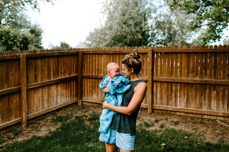 Mother and Son Lifestyle Photograph in back yard
