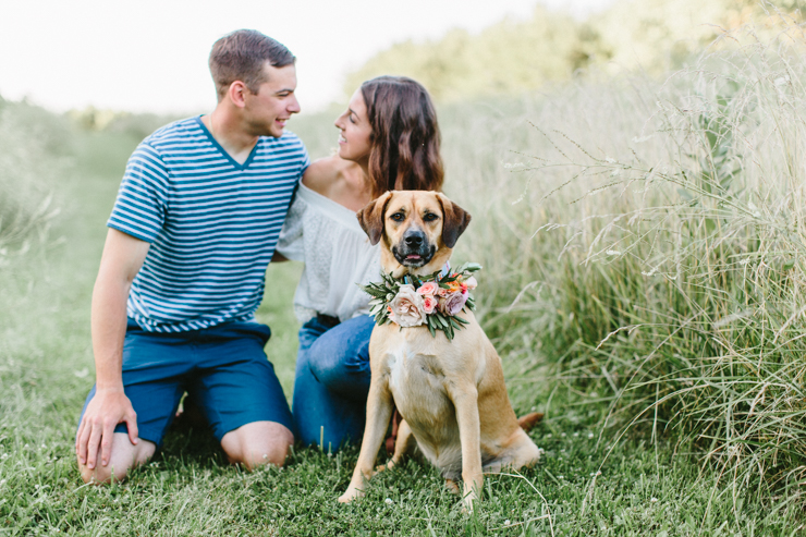 Intimate Countryside engagement session with a dog and flower crown