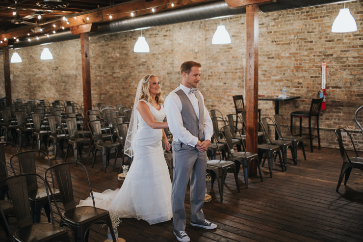Bride and Groom's First Look at the Haight in Elgin, Illinois