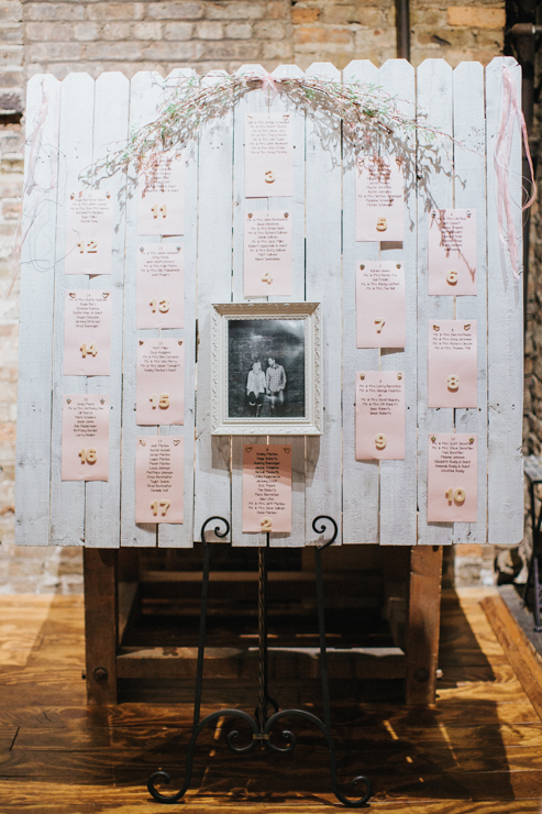 Bride and Groom's Seating Chart for their wedding