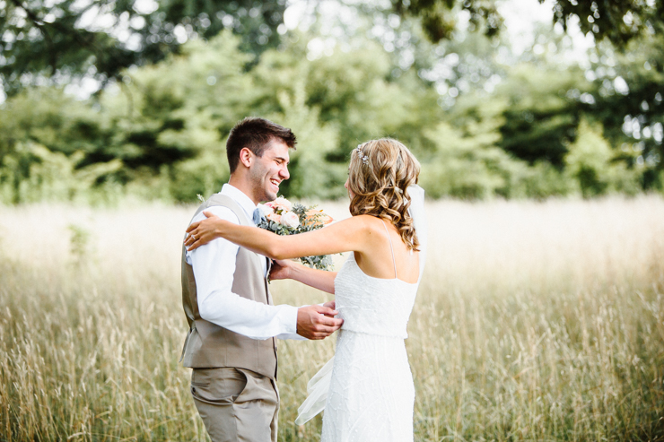 First look at wedding on grandparents' farm, groom's reaction is priceless