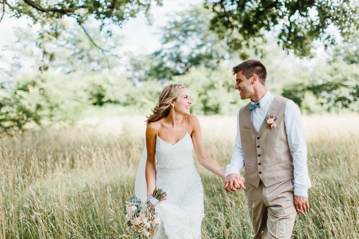 Bride and groom portraits with stunning BHLDN Wedding Gown and Florals by Splendor Of Eden