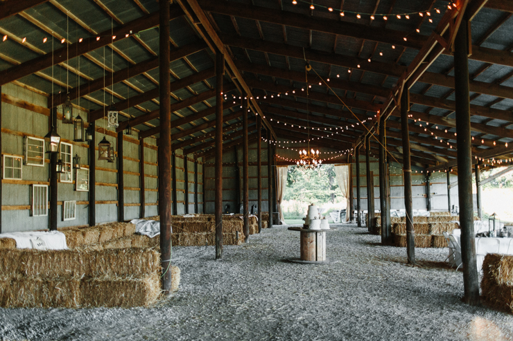 Outdoor barn reception wedding decor