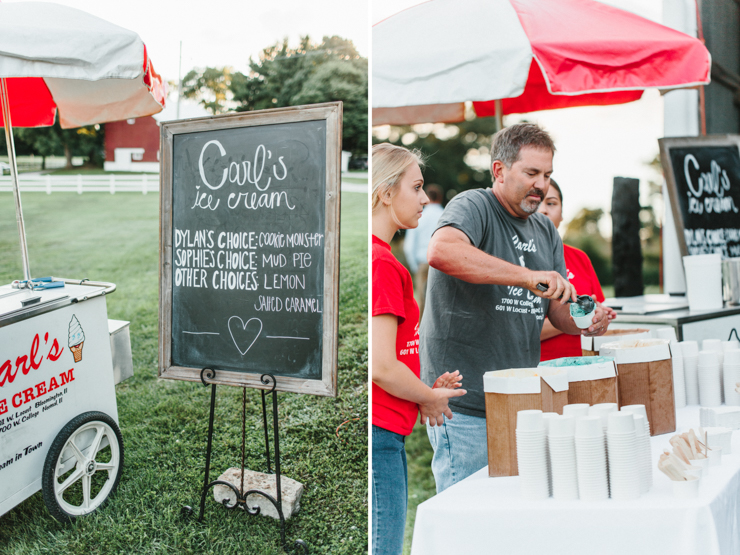 Carl's Ice Cream in Illinois catering a wedding on a farm for a reception in a family barn