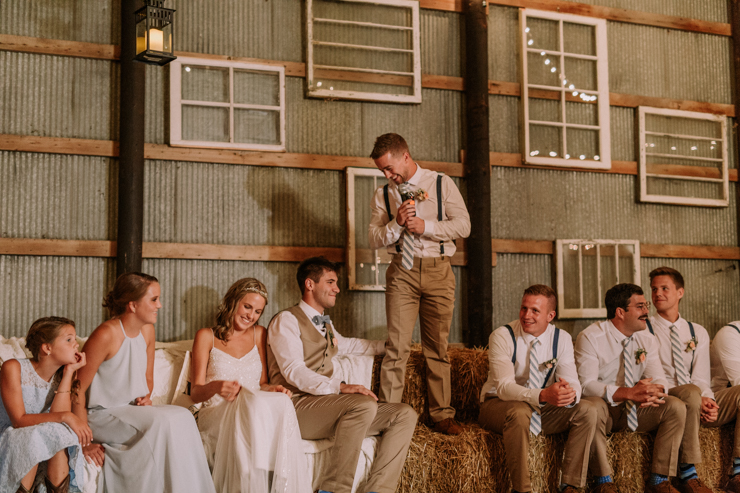 Best Friend giving toast at stunning midwest barn reception