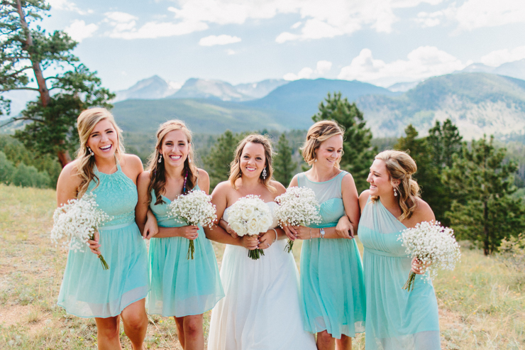 Bridesmaids and bridal party photography in the mountains at YMCA of the Rockies, Overlook Chapel