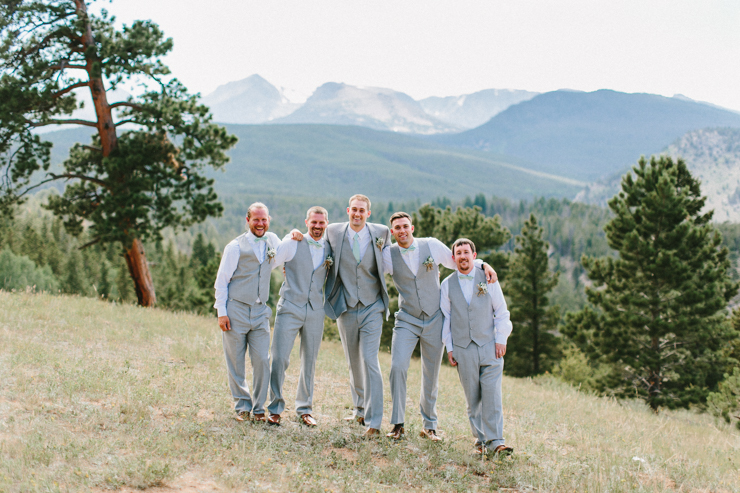 Groom and Groomsmen in the mountains at YMCA of the Rockies, Overlook Chapel