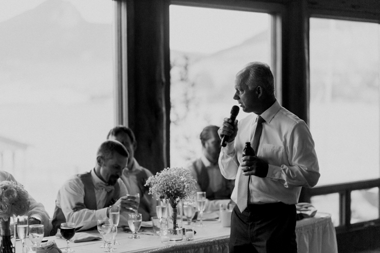 Father of the bride's wedding toast at wedding reception at Estes Park Resort, Colorado