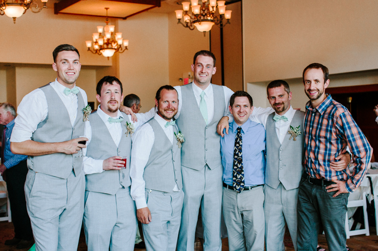 Groom with his friends at wedding reception at Estes Park Resort, Colorado