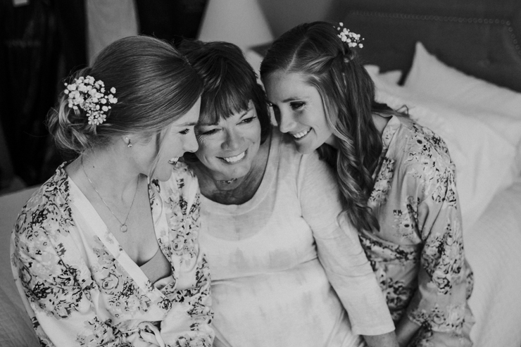 Bride, Mom, and Maid of Honor getting ready at Pear Tree Estate in Champaign, Illinois