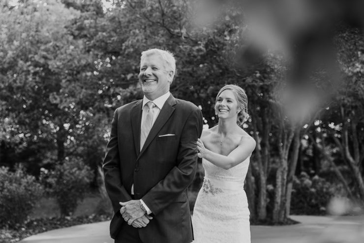 Bride and her dad emotional First Look at Pear Tree Estate in Champaign, IL