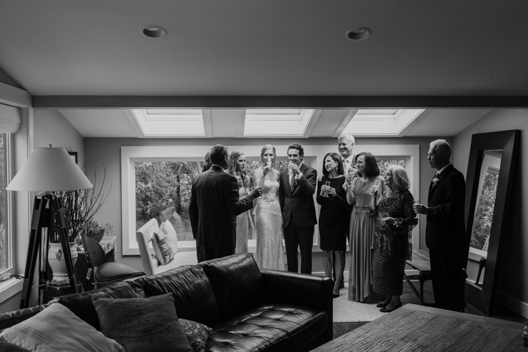 Bride and Groom family hanging out prior to wedding ceremony Pear Tree Estate Champaign, IL