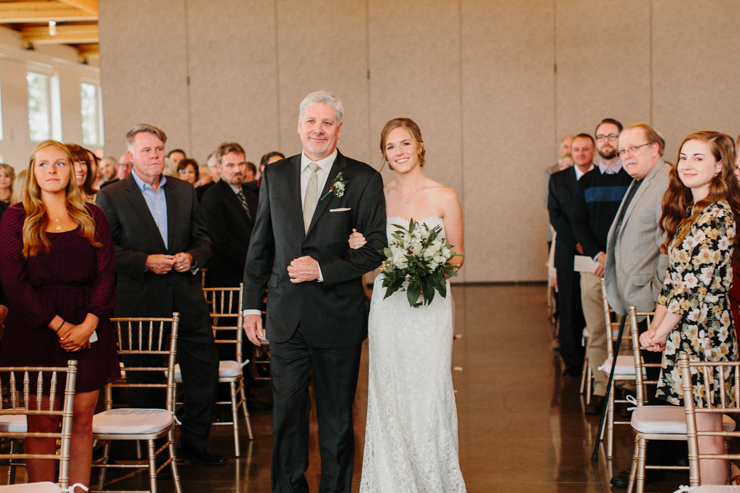 Father walking his daughter down the aisle at Pear Tree Estate Wedding Champaign, IL