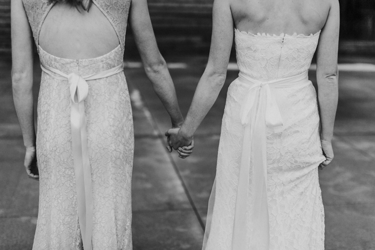 Sisters on wedding day
