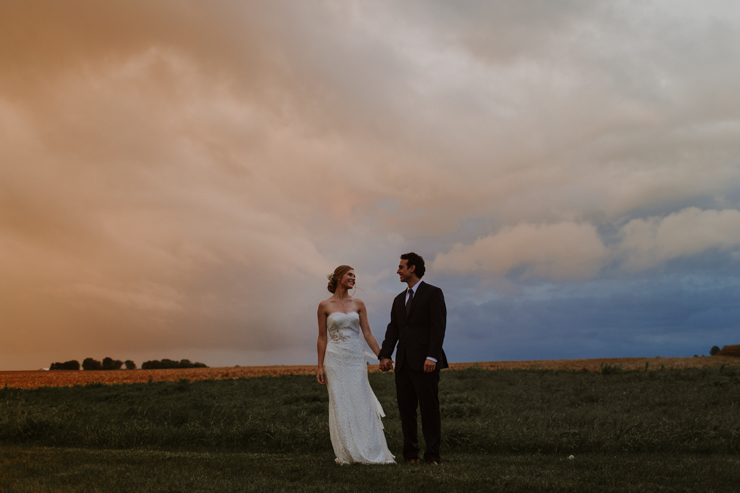 Rainy Outdoor Bride and groom portraits at Pear Tree Estate Champaign, IL
