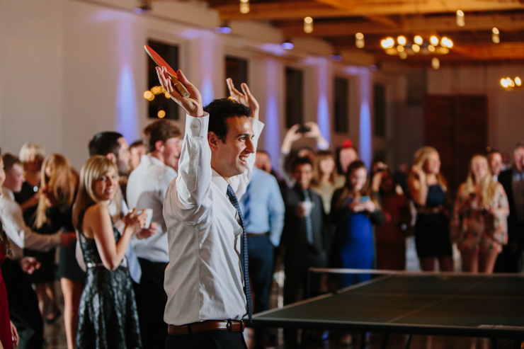 Groom Celebrating at Wedding Reception playing Ping Pong Pear Tree Estate Champaign, IL