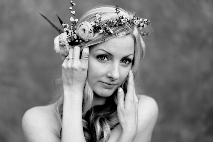 Bohemian Portrait girl with flower crown