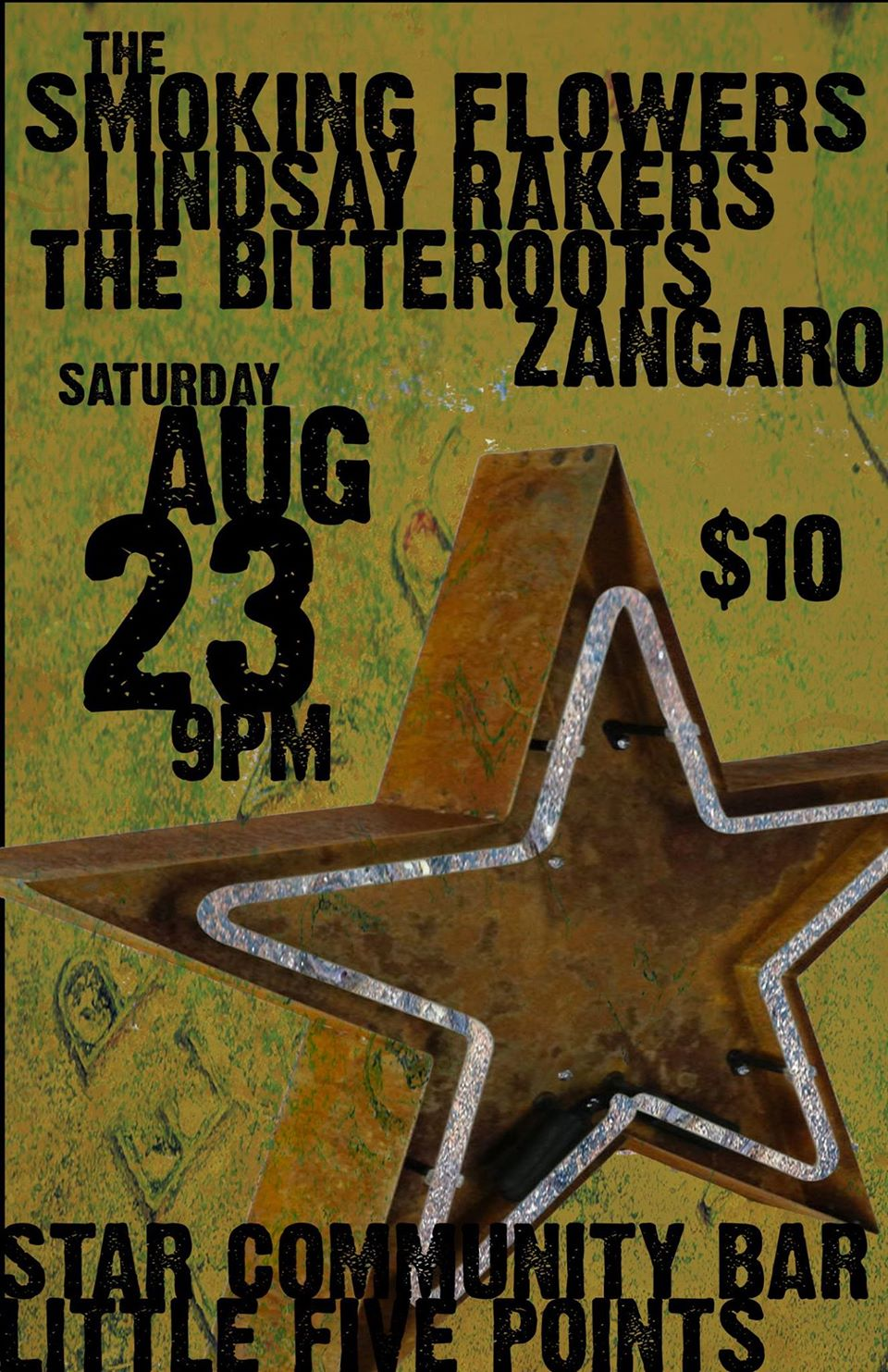THE SMOKING FLOWERS + ALCHEMY + LINDSAY RAKERS + THE BITTEROOTS + ZANGARO — August 23, 2014 — The Star Community Bar, Atlanta, GA