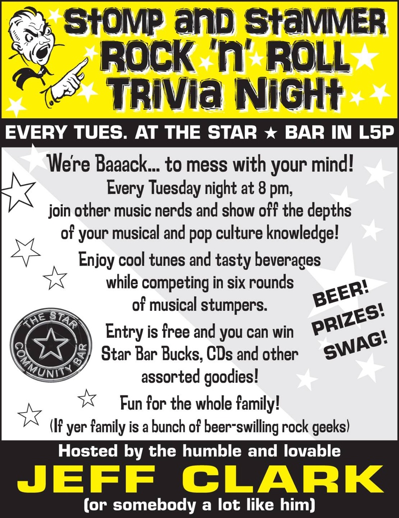 Stomp and Stammer Rock 'n' Roll Trivia — November 11, 2014 — The Star Community Bar, Atlanta, GA
