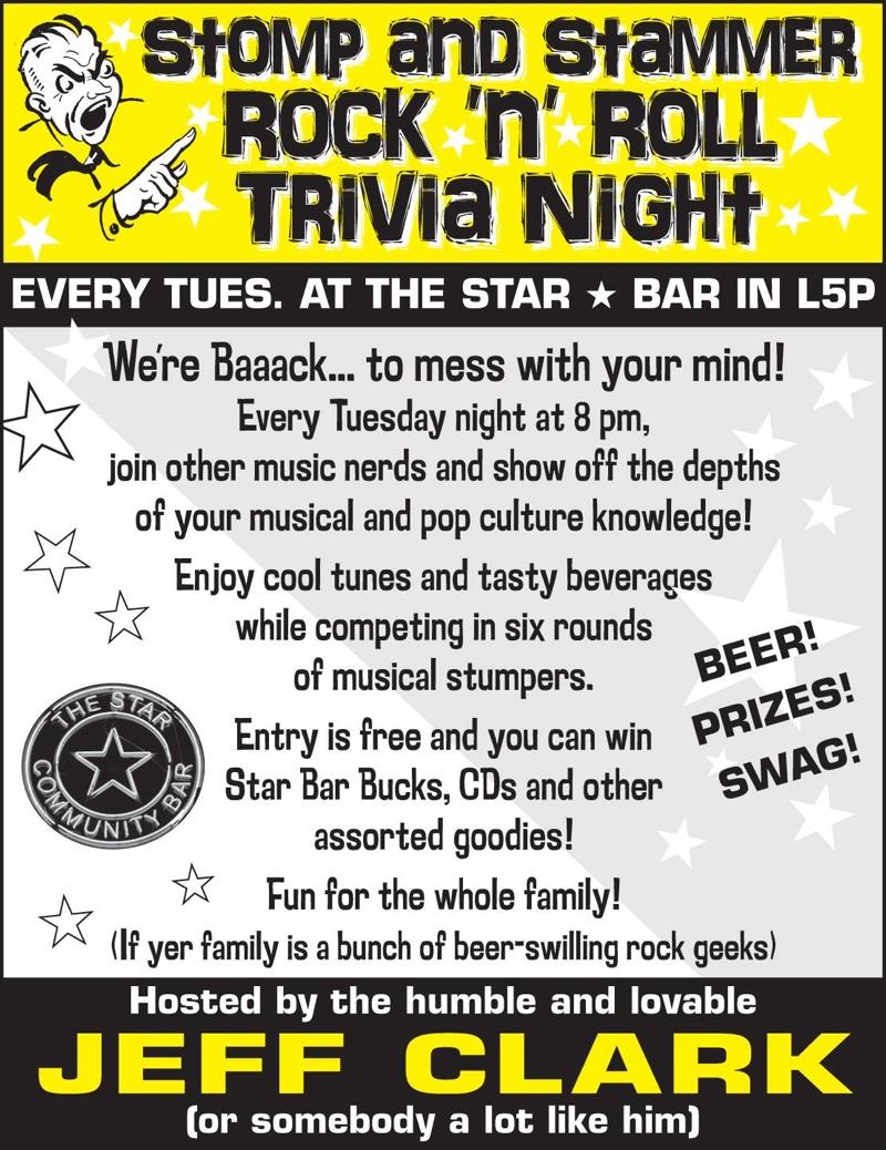 Stomp and Stammer Rock 'n' Roll Trivia — November 11, 2014 — The Star Community Bar, Atlanta, GA