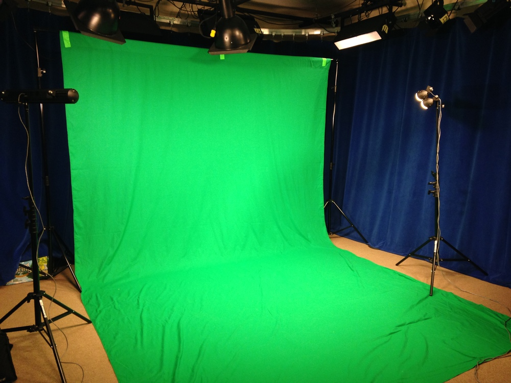 In addition to our awesome green screen, we also have another green cloth and green tape that can be used to block out sections and give the illusion that you can see right through someone!