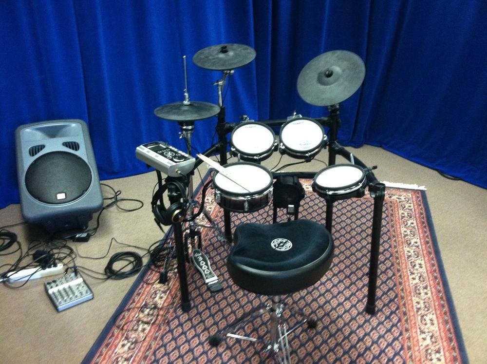 V-drums set up in studio 158 Main Street.