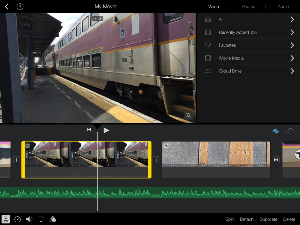 Screenshot of iMovie's mobile app