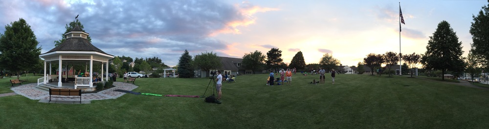 Beautiful sunset as Amelia films a concert on Town Hill.