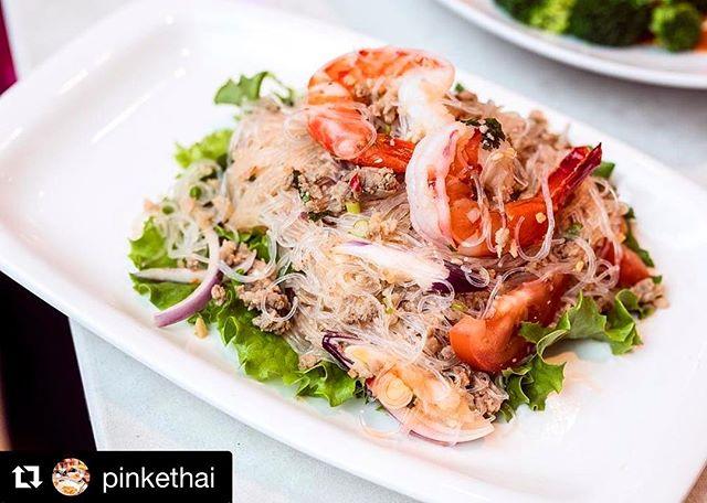Totally craving some #PrawnSalad @pinkethai today!! #Delicious #VanFoodie