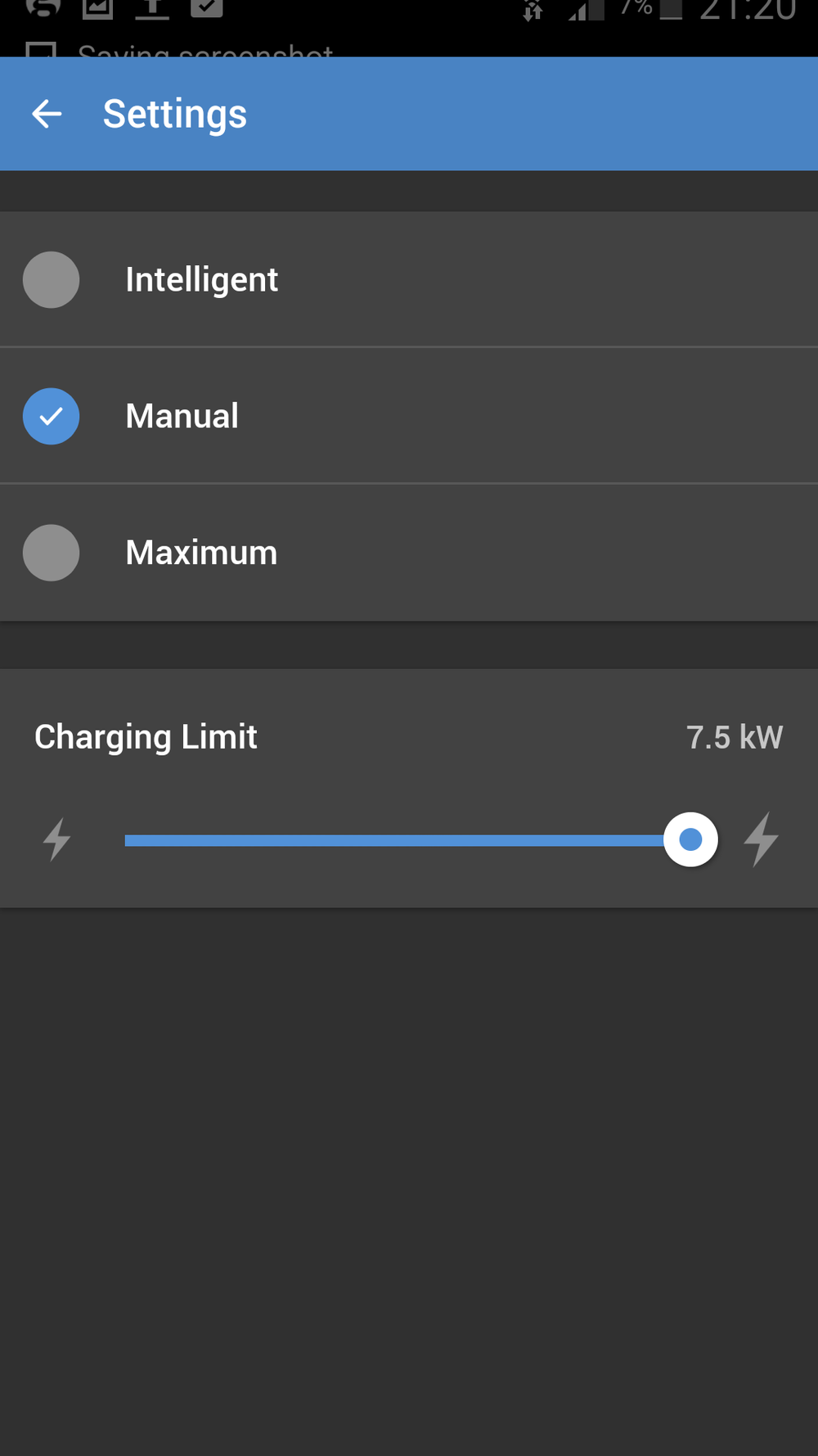 EV charging options. When set to intelligent charging uses ony excess power from the solar system.