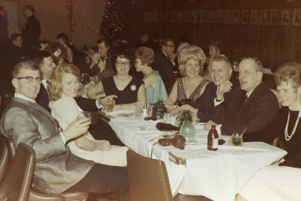 Everett and Marie Harris, Nancy and Ken Jensen, and Russ and Betty Arnett. 1968 Alaska Bar Christmas party. <3
