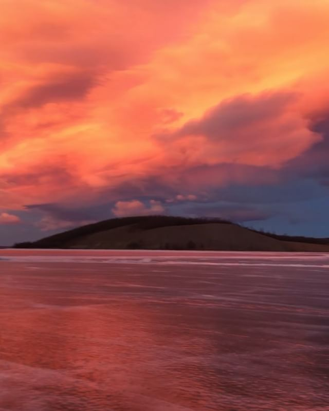 Surreal skies over a frozen Khuvsgul Lake on a site visit for a new project. Colours are for realz. #khuvsgul #lake #architect #sitevisit #mongolia #redskyatnight #ruralurbanlab