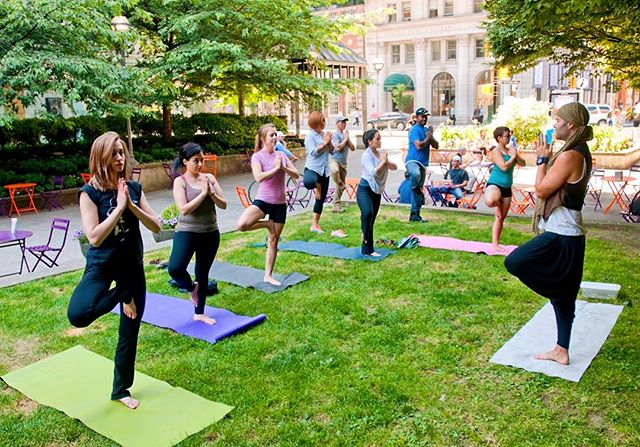 Who's up for some outdoor yoga? Drop by #Lot19 tomorrow at 12:15pm for a free #yoga session! Don't forget to bring your own mat! 😄 #YWCA