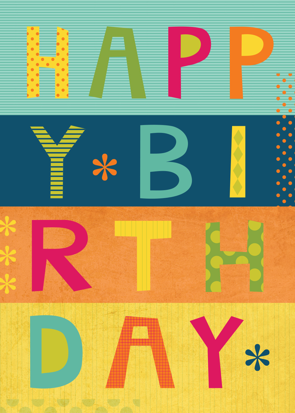 Birthday collage lettering