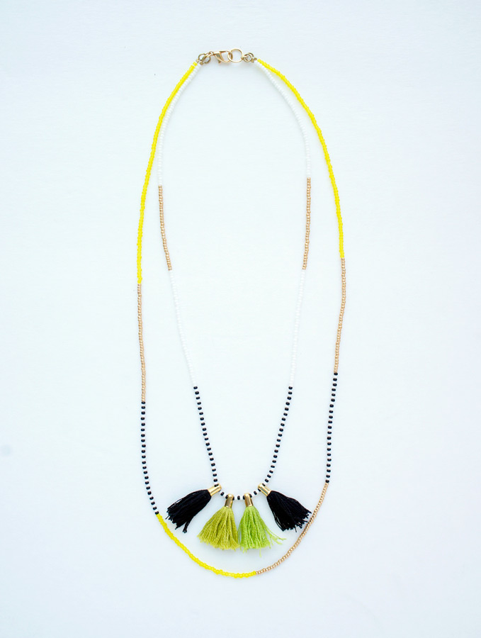 Olive tassel charm double layered necklace