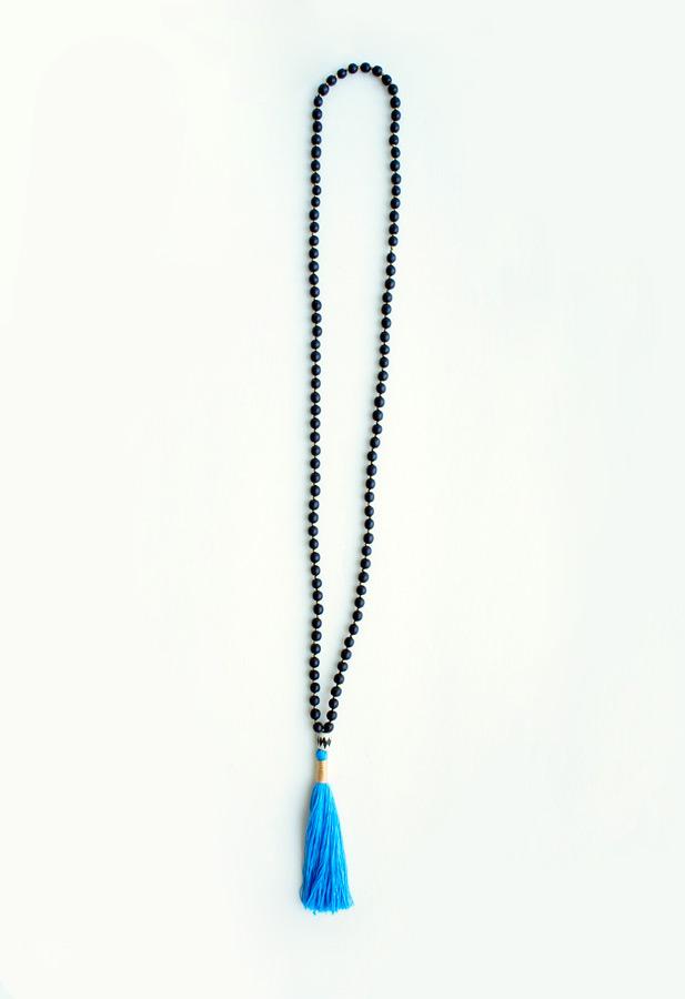 Blue tassel long necklace