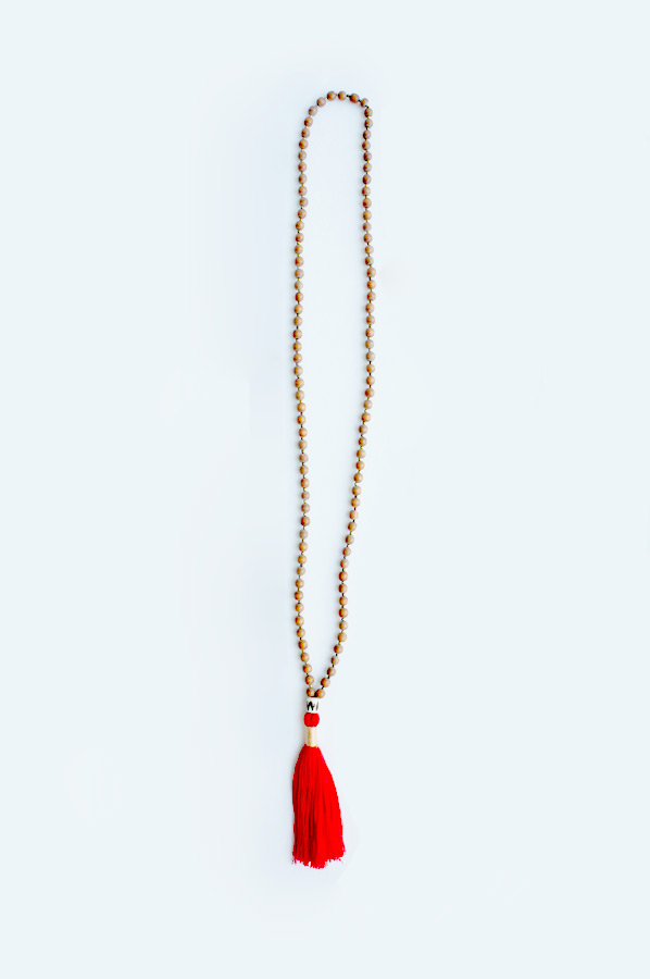 Red tassel long necklace