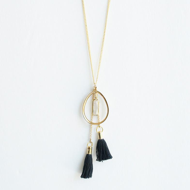 Double tassel long necklace Black