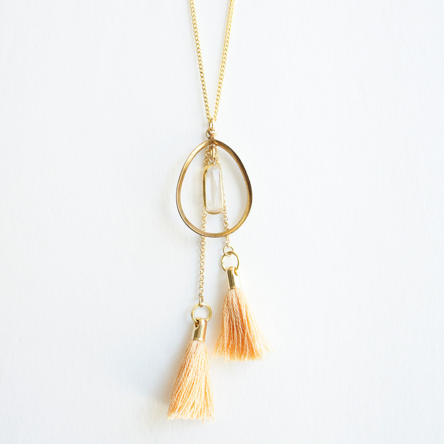 Double tassel long necklace Pink