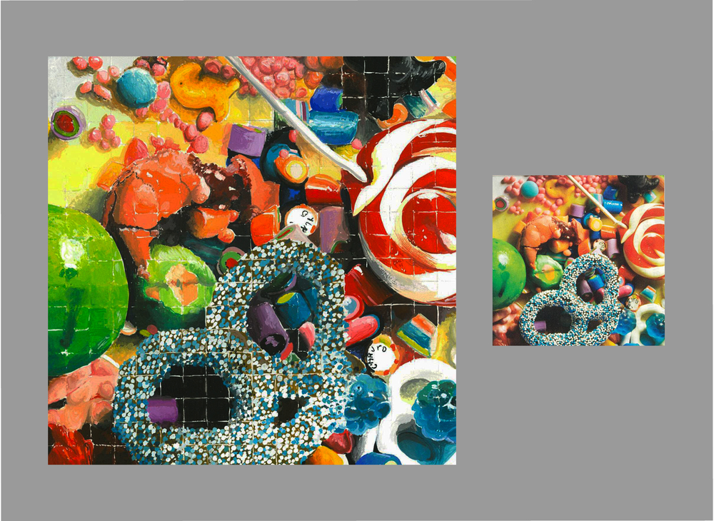 Sweetly Blown Up  gouache    the image on the left is the 4x magnified version of the photograph on the right. The larger image is painted in gouache on a cold pressed high-art board.    ('11)    Original photo courtesy of  Teen Vogue ('11).