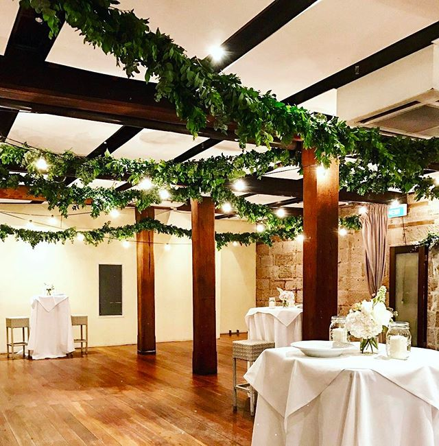 For our last wedding of 2016, we created 50 metres of garlands to run the ceilings of the gorgeous old sandstone building by our stunning Sydney harbour for a special couple Elizabeth and Donald😍 simply stunning 🌿