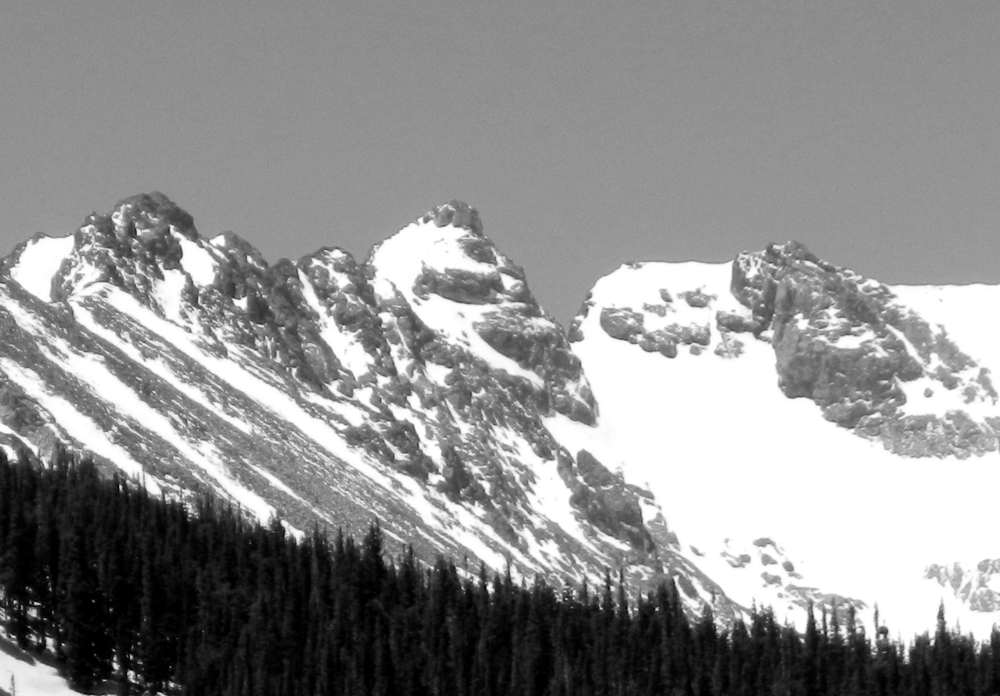 Navajo Snowfield and Navajo Peak from Brainard Lake.