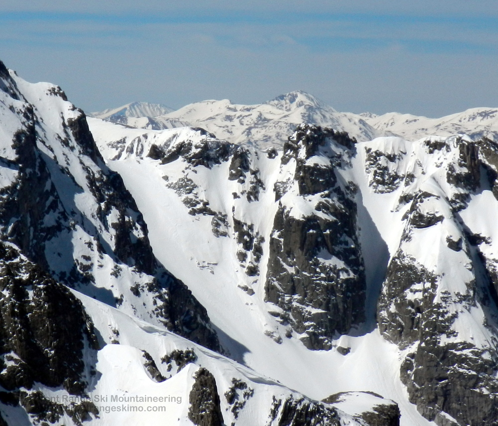 A closer look at Fair Glacier and Mount George Couloir from the north.