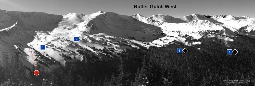 Butler Gulch West from the East Chutes.  Photo: Rob Writz