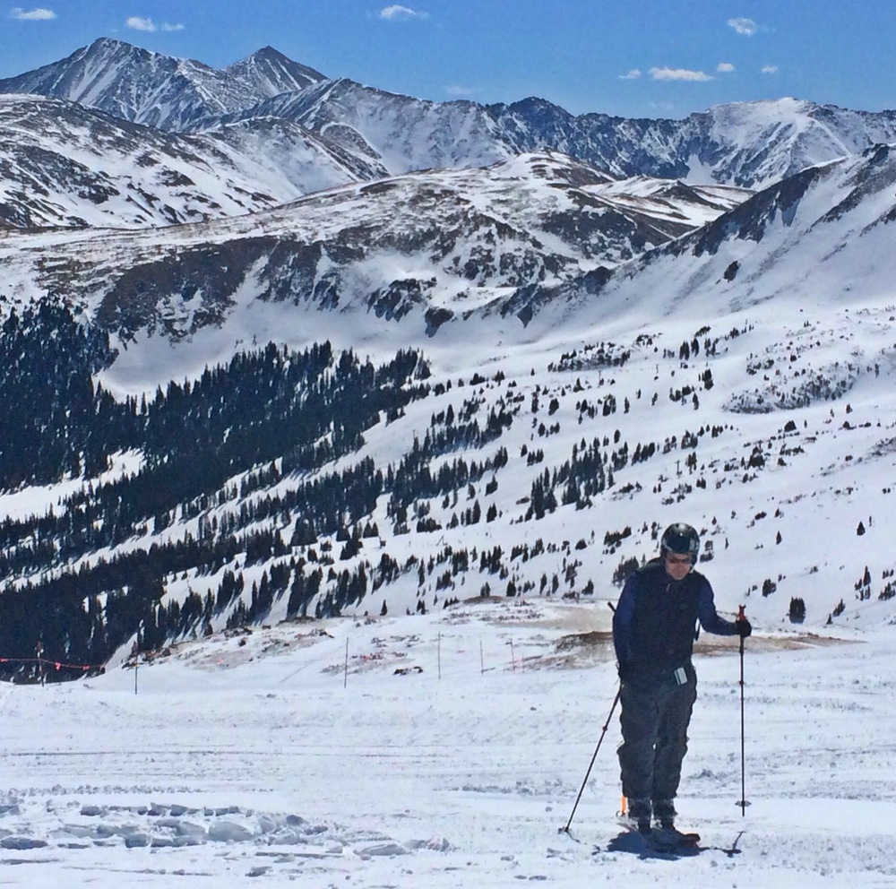 "Dave Dombrowski skis up the ""B"" route to the Continental Divide and Chair 9."