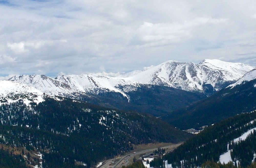Mount Machebeuf, Parnassus, and Bard Peak from the Loveland Ski Area.