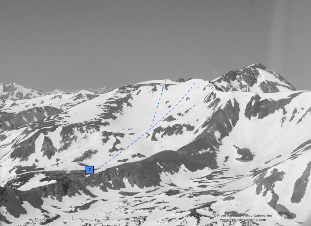 The Northeast Bowl of Hassell Peak. Notice the east-west ridge at the bottom separating Butler & Woods basins.
